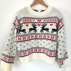 "H&M Ivory ""Merry Kiss-Mas"" Knit Christmas Sweater"